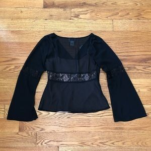 LOFT Tops - NWT Pretty Ann Taylor Loft Black Blouse w/Lace